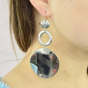 large circle drop silver hoop statement earrings